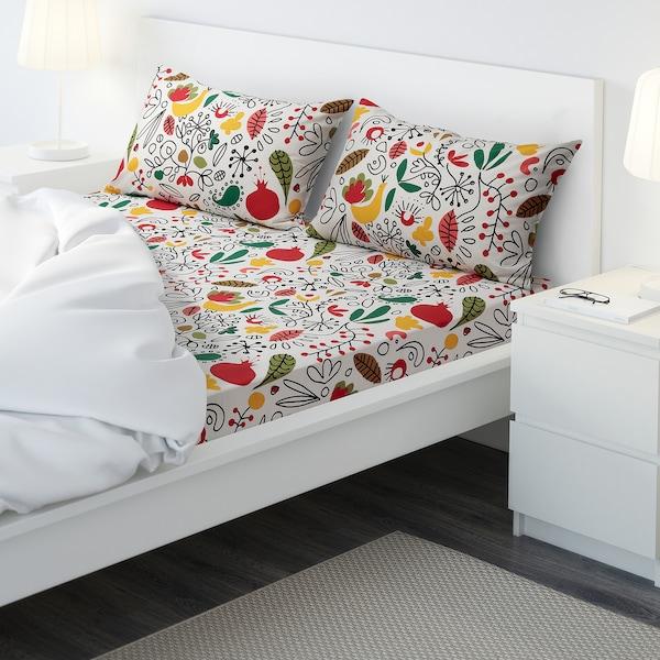 FINSLIPAD Flat sheet and 2 pillowcase, multicolour, 240x260/80x50 cm