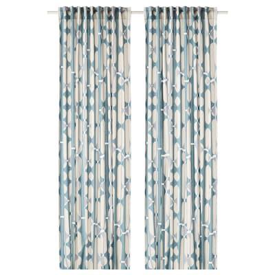 FJÄLLMÄTARE Curtains, 1 pair, beige/blue, 145x300 cm