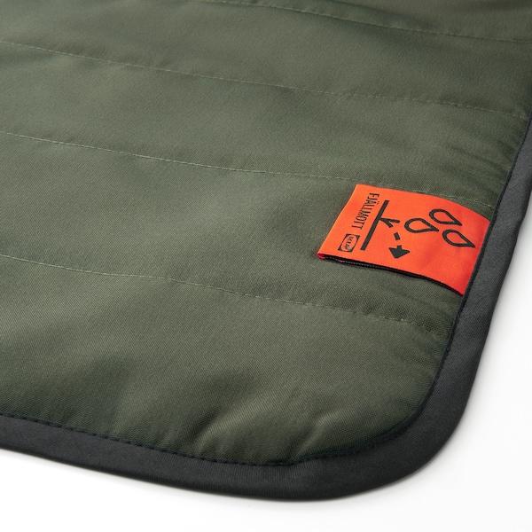 FJÄLLMOTT Picnic blanket, deep green/black, 130x170 cm