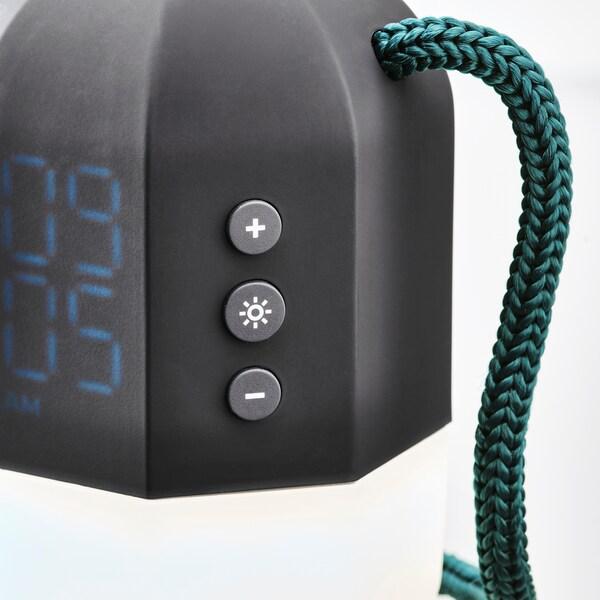 FNURRA Alarm clock/wake-up light, grey, 10 cm