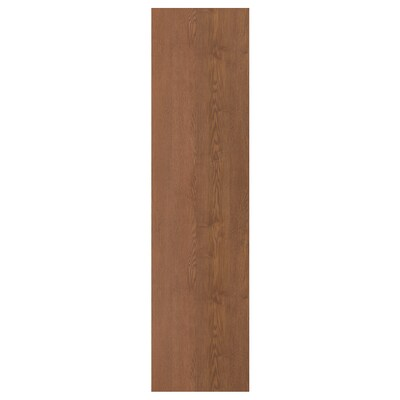 FORSAND Door with hinges, brown stained ash effect, 50x195 cm