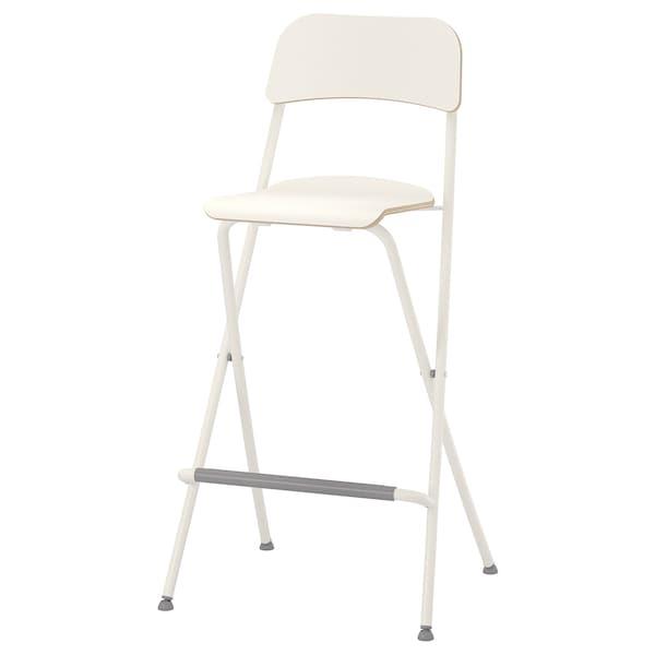 FRANKLIN Bar stool with backrest, foldable, white/white, 74 cm