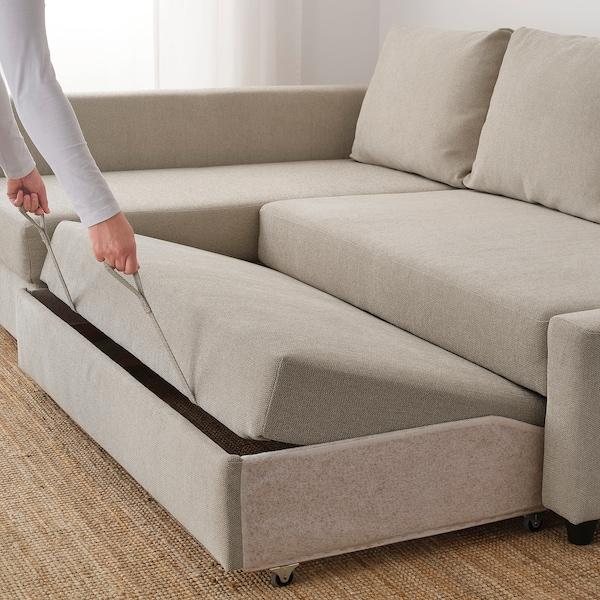 FRIHETEN Corner sofa-bed with storage, Hyllie beige