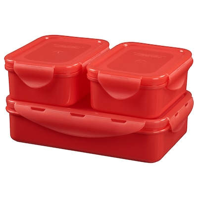 FULLASTAD Lunch box, set of 3, red