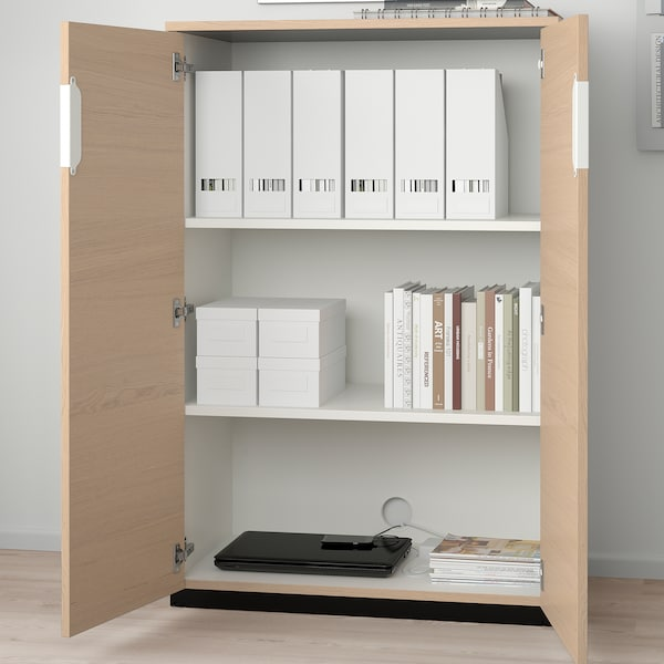 GALANT Cabinet with doors, white stained oak veneer, 80x120 cm