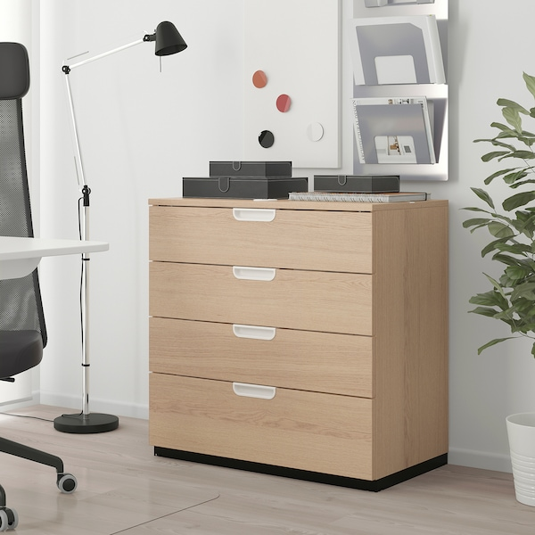 GALANT Drawer unit, white stained oak veneer, 80x80 cm