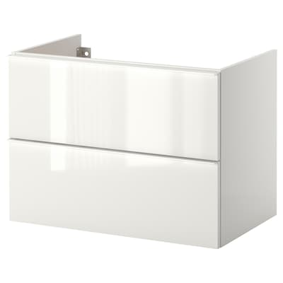 GODMORGON wash-stand with 2 drawers high-gloss white 80 cm 47 cm 58 cm
