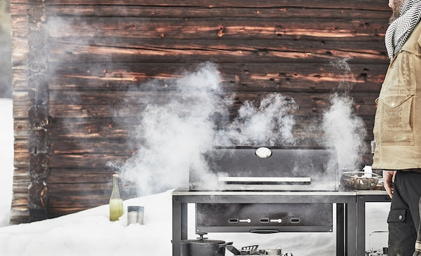 GRILLSKÄR Charcoal barbecue with cabinet, black/stainless steel outdoor, 86x61 cm