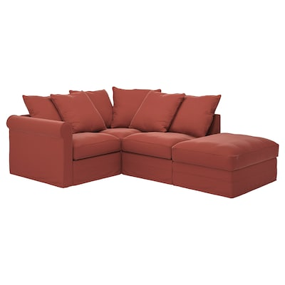 GRÖNLID Corner sofa, 3-seat, with open end/Ljungen light red