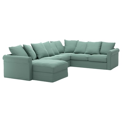 GRÖNLID Corner sofa, 5-seat w chaise longue, Ljungen light green