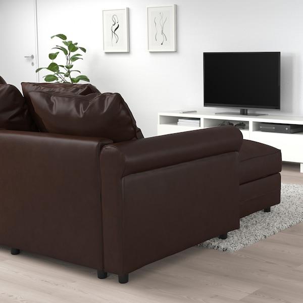 GRÖNLID Corner sofa-bed, 5-seat, with chaise longue/Kimstad dark brown
