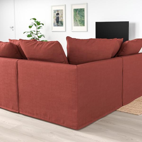 GRÖNLID Corner sofa-bed, 5-seat, with chaise longue/Ljungen light red