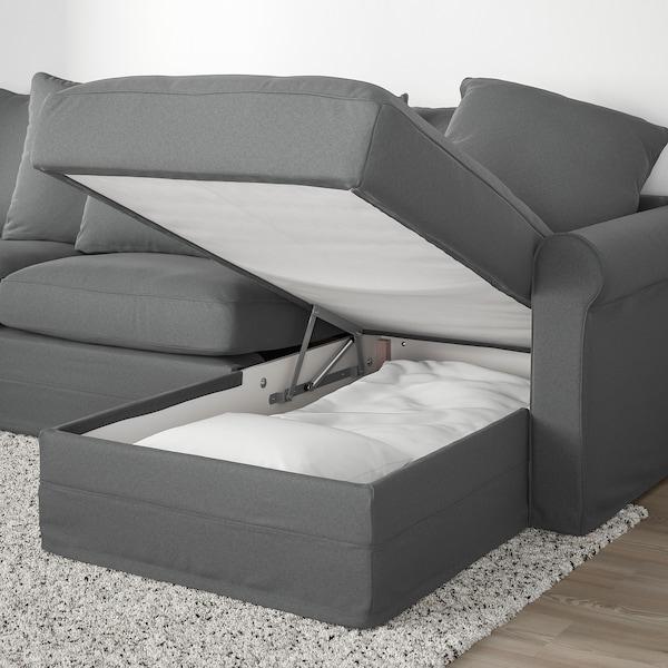 GRÖNLID Corner sofa-bed, 5-seat, with chaise longue/Ljungen medium grey