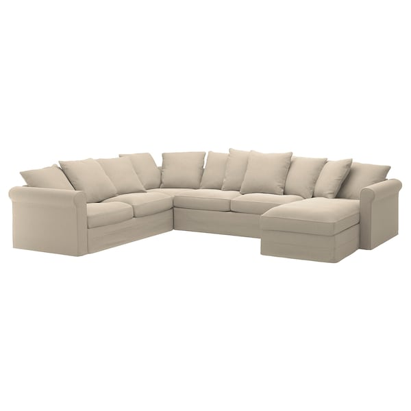 GRÖNLID Corner sofa-bed, 5-seat, with chaise longue/Sporda natural