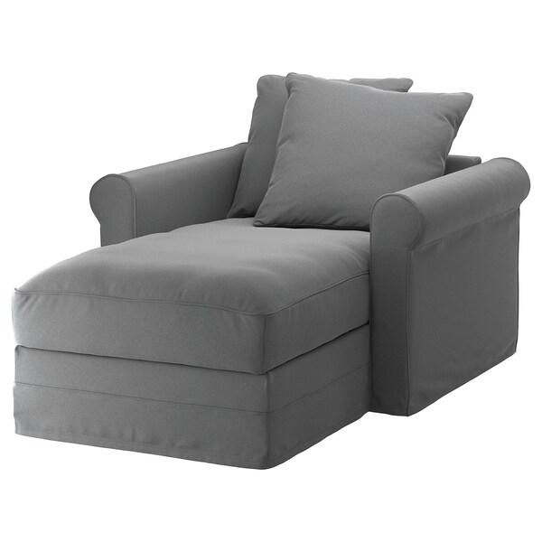 GRÖNLID cover for chaise longue Ljungen medium grey