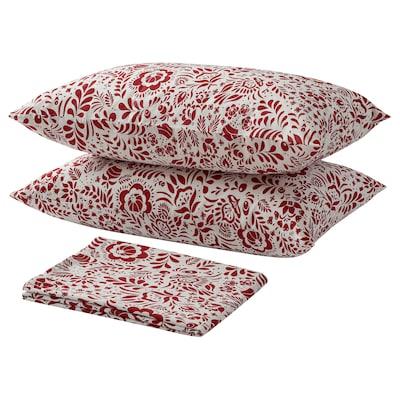 GULDKÄRVEL Flat sheet and 2 pillowcase, white/red, 240x260/50x80 cm