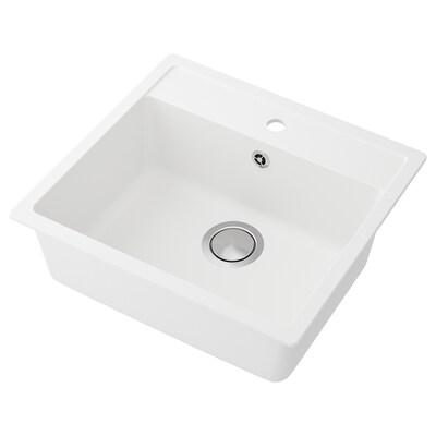 HÄLLVIKEN inset sink, 1 bowl white/quartz composite 18 cm 50 cm 35 cm 48.6 cm 54.6 cm 50 cm 56 cm 50 cm 19.4 cm 31.5 l
