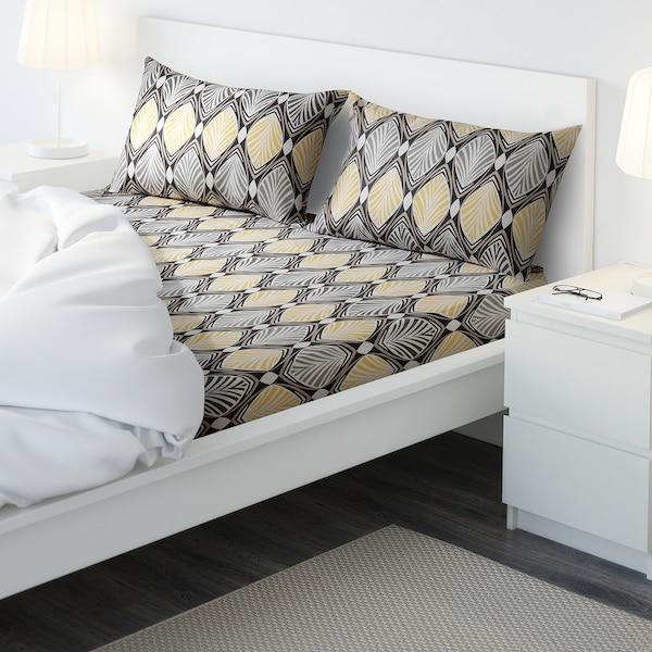HÄSTFIBLA flat sheet and 2 pillowcase grey/yellow 207 /inch² 2 pack 50 cm 80 cm 240 cm 260 cm