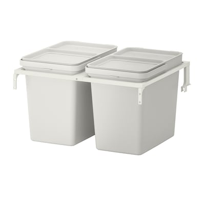 HÅLLBAR Waste sorting solution, for METOD kitchen drawer/light grey, 44 l