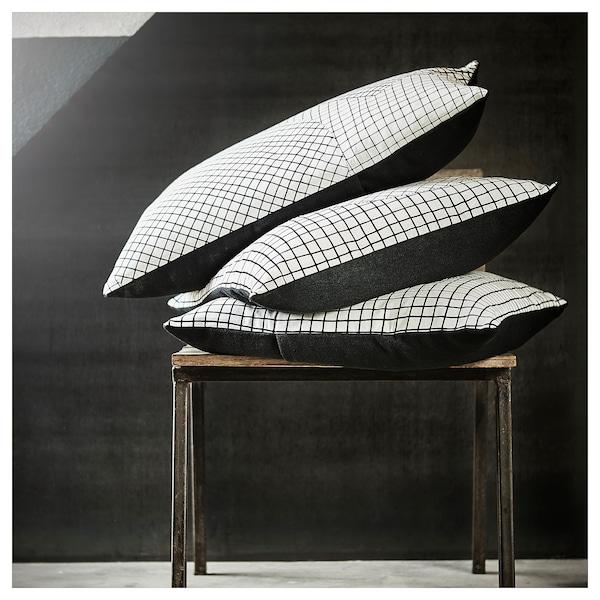 HANTVERK cushion cover handmade white/black 50 cm 50 cm