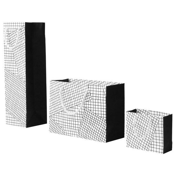HANTVERK gift bag, set of 3 handmade white/black