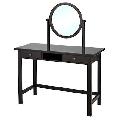 HEMNES Dressing table with mirror, black-brown, 110x45 cm
