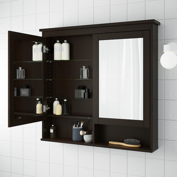HEMNES Mirror cabinet with 2 doors, black-brown stain, 103x16x98 cm