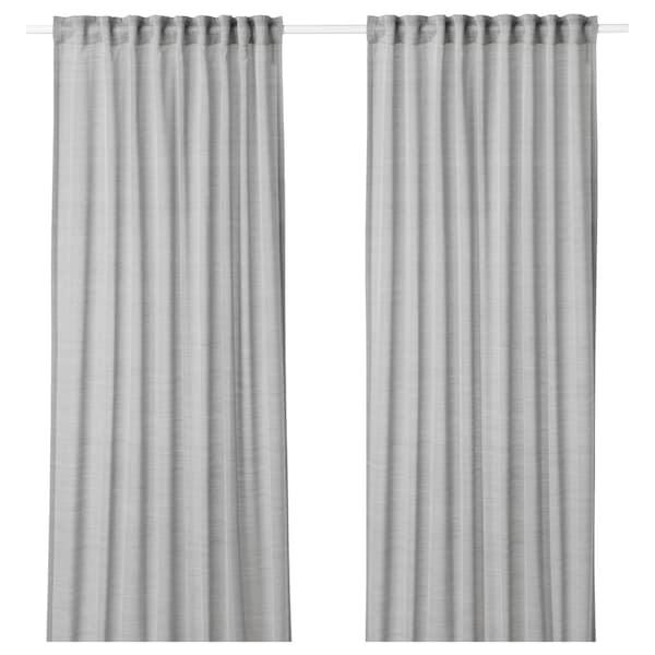 HILJA Curtains, 1 pair, grey, 145x300 cm
