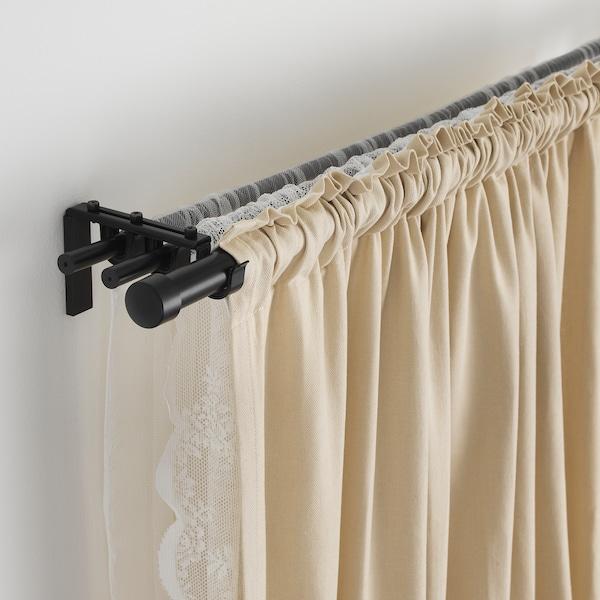 HUGAD Curtain rod, black, 210-385 cm