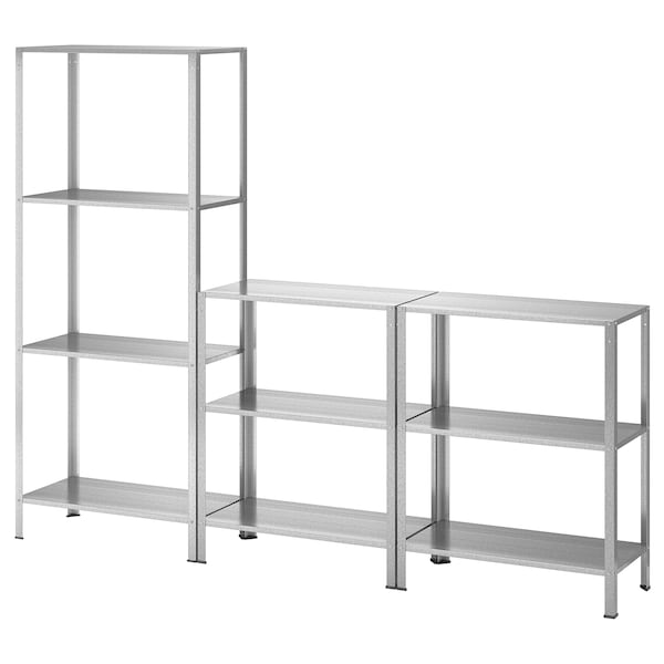 HYLLIS Shelving unit in/outdoor, 180x27x74-140 cm