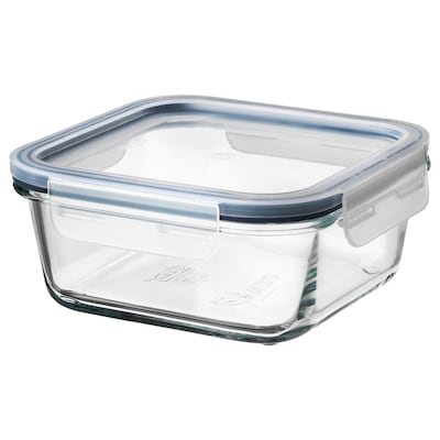 IKEA 365+ Food container with lid, square glass/plastic, 600 ml