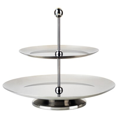 INBJUDEN Serving stand, two tiers, stainless steel