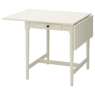 INGATORP Drop-leaf table, white, 65/123x78 cm