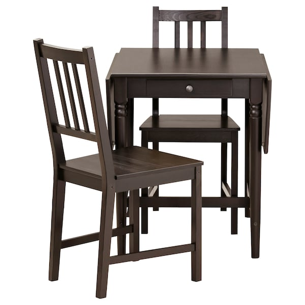 INGATORP / STEFAN Table and 2 chairs, black-brown/brown-black, 65 cm