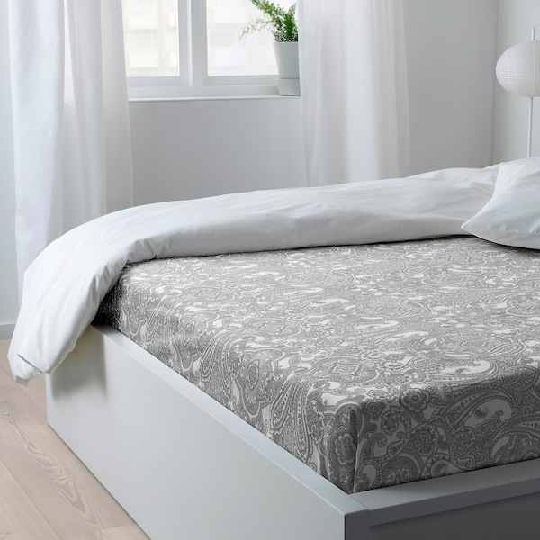 JÄTTEVALLMO sheet white/grey 152 /inch² 260 cm 240 cm