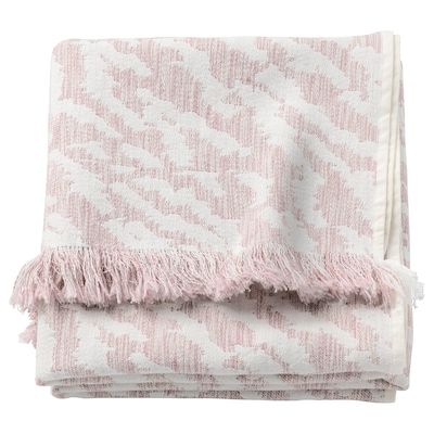 KAPASTER Throw, white/pink, 130x170 cm