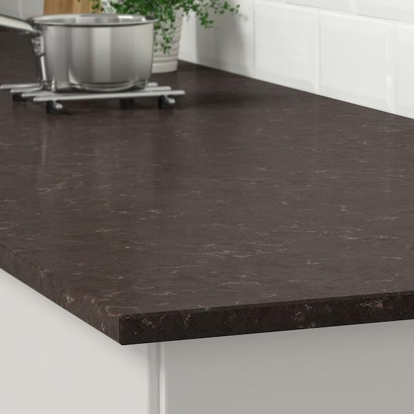 KASKER Custom made worktop, dark brown marble effect/quartz, 1 m²x2.0 cm