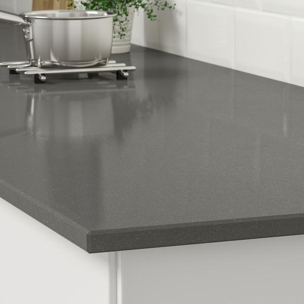KASKER Custom made worktop, dark grey stone effect/quartz, 1 m²x2.0 cm