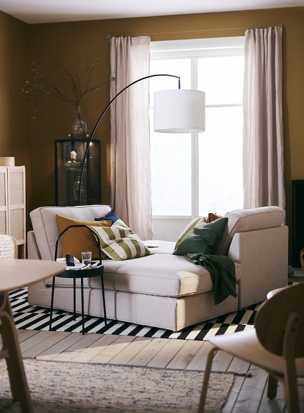 KIVIK Chaise longue, Hillared beige