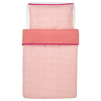 KLÄMMIG Quilt cover/pillowcase for cot, red, 110x125/35x55 cm