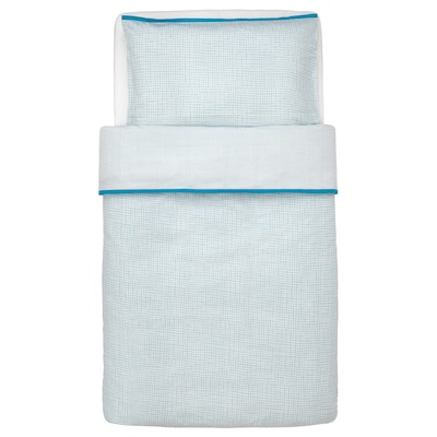 KLÄMMIG Quilt cover/pillowcase for cot, turquoise, 110x125/35x55 cm