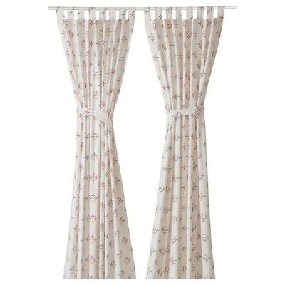 KLIBBARV Curtains, 1 pair, white/printed, 150x300 cm