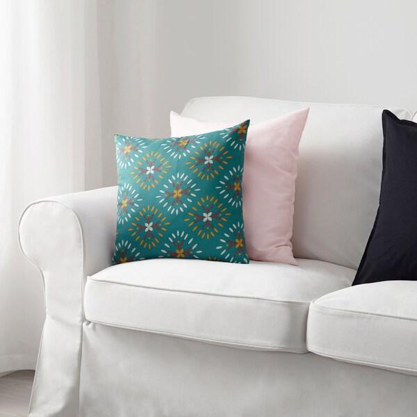 KLIBBARV Cushion, green/printed, 40x40 cm