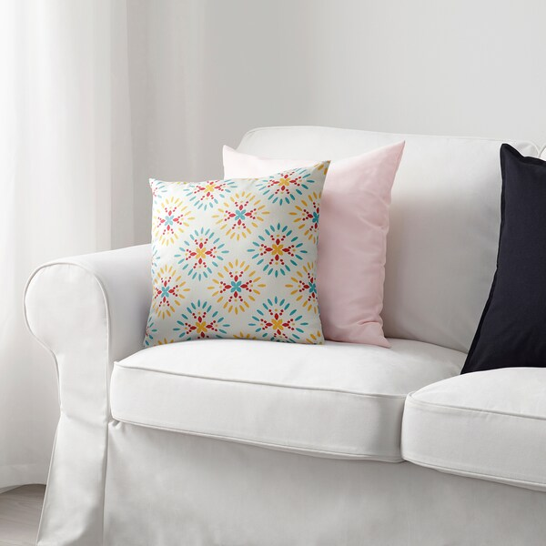 KLIBBARV Cushion, white/printed, 40x40 cm