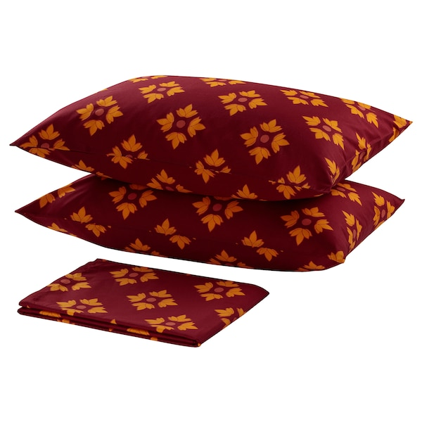 KLIBBARV flat sheet and 2 pillowcase red/printed 152 /inch² 2 pack 50 cm 80 cm 240 cm 260 cm