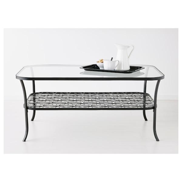 KLINGSBO Coffee table, black/clear glass, 116x78 cm