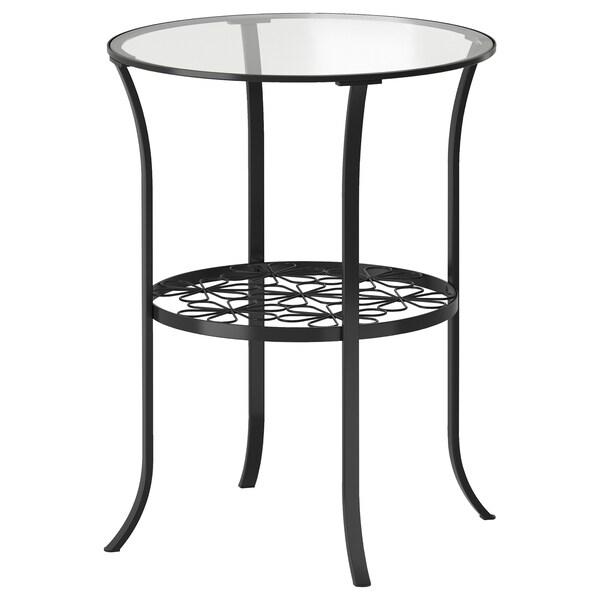 KLINGSBO Side table, black/clear glass, 49x62 cm