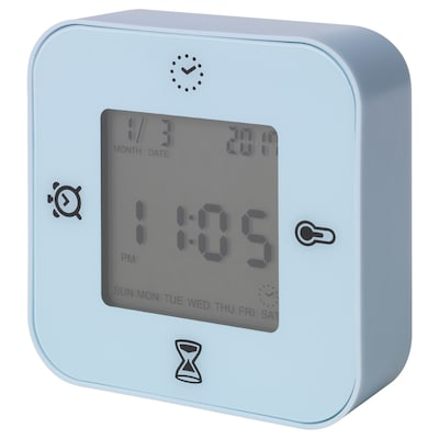 KLOCKIS Clock/thermometer/alarm/timer, light blue