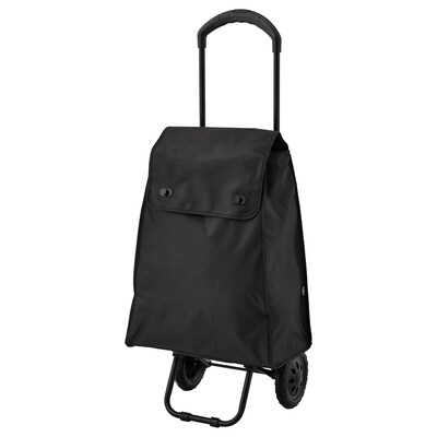 KNALLA Shopping bag on wheels, black