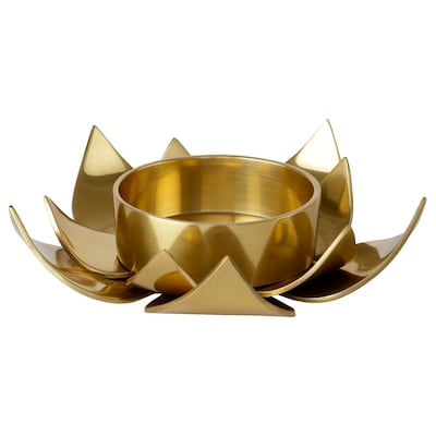 KNASTRIGT Block candle holder, gold-colour/Lotus, 3.8 cm